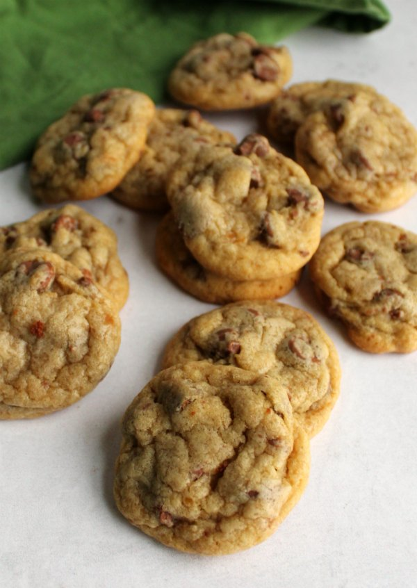 piles of chewy chocolate chip cookies