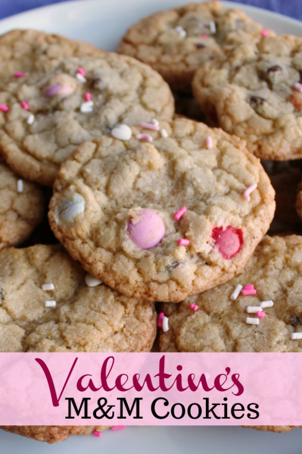 With the perfect mix of brown sugar and buttery flavor, pretty M&Ms and a splash of sprinkles, these cookies are sure to delight your taste buds. This version is ready for Valentine's Day, but you can change the color of the candy to match any occasion.
