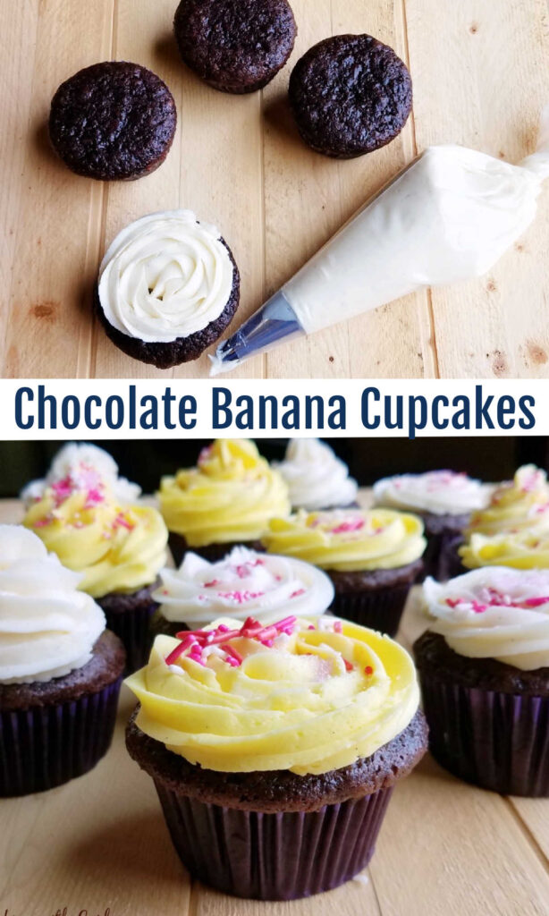 Rich chocolate cupcakes with bananas mixed right in.  You won't believe how easy they are to make or how delicious they are! They are super moist, really chocolaty and oh so good.  Whip up a batch to top with your favorite frosting. Or leave the frosting off and call them a muffin, I won't judge