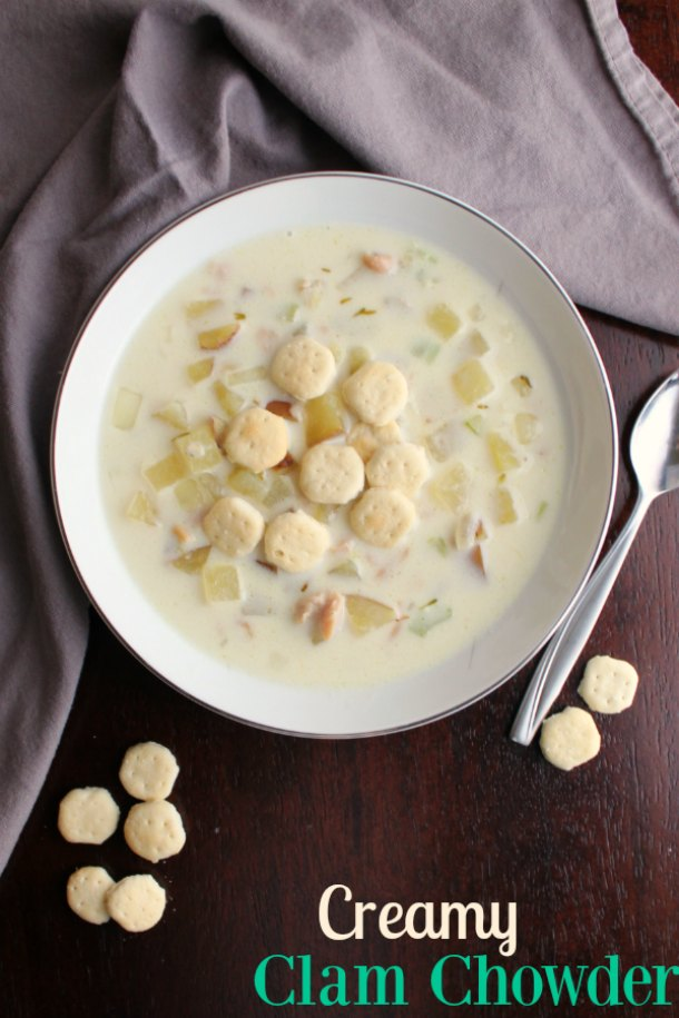 This delicious New England clam chowder is easy to make and is ready to eat in about a half an hour. It's creamy, comforting and oh so good!