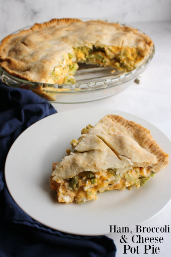 This pot pie is a great way to rework your leftover ham.  Broccoli and cheese are a perfect way to bring it all together in a delicious one dish dinner!