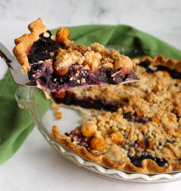 lifting first slice of blueberry pie topped with ground cherries and streusel out of pie pan.