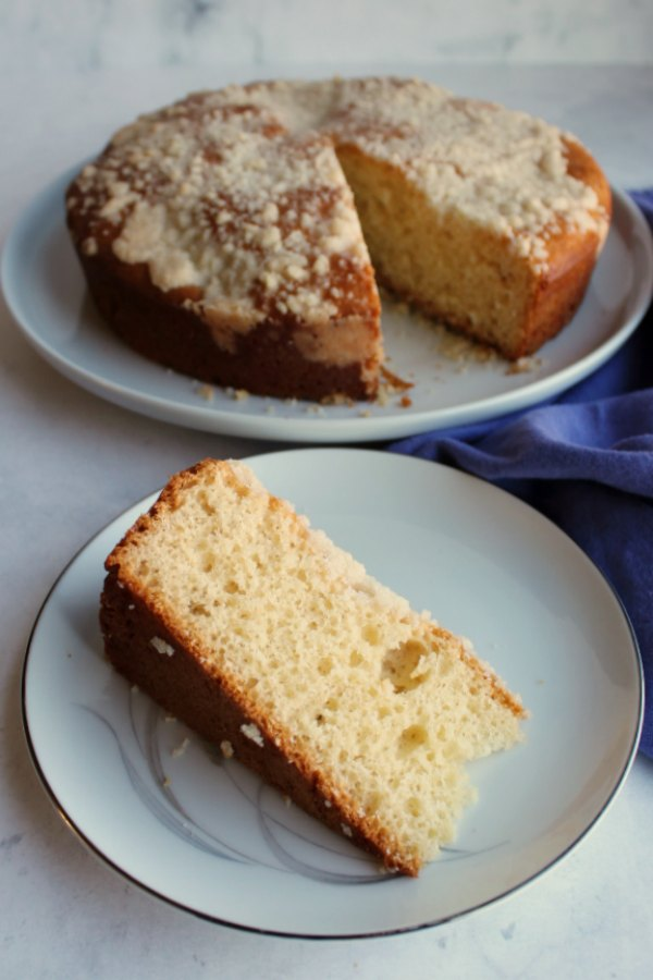 slice of butter placek coffee cake with crumb topping
