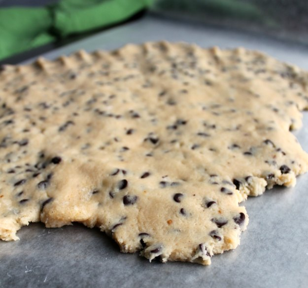 cookie dough patted out and ready to freeze.