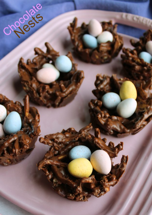 These sweet chocolaty no bake treats look like birds nests but taste like haystack candies. They are quick and easy to make and perfect for spring and Easter.
