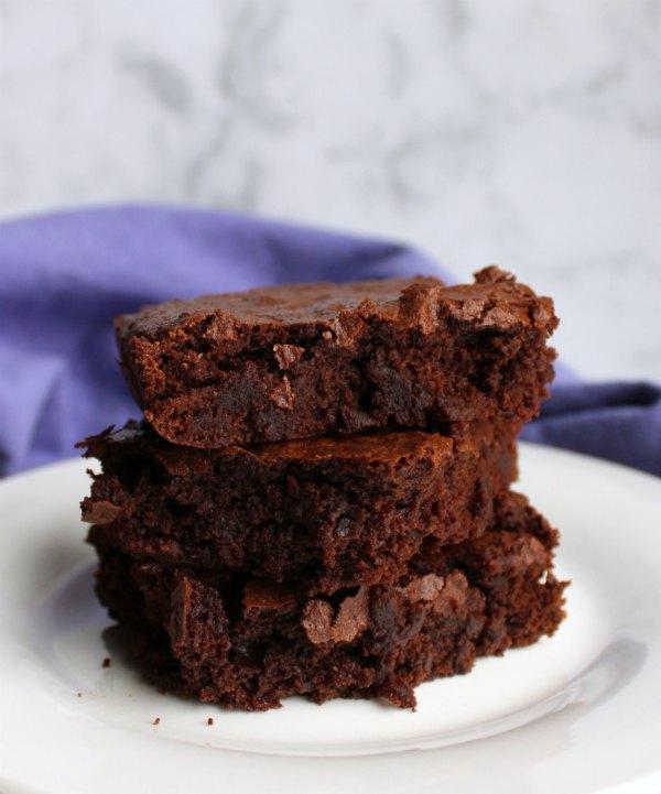 looking across a stack of brownies