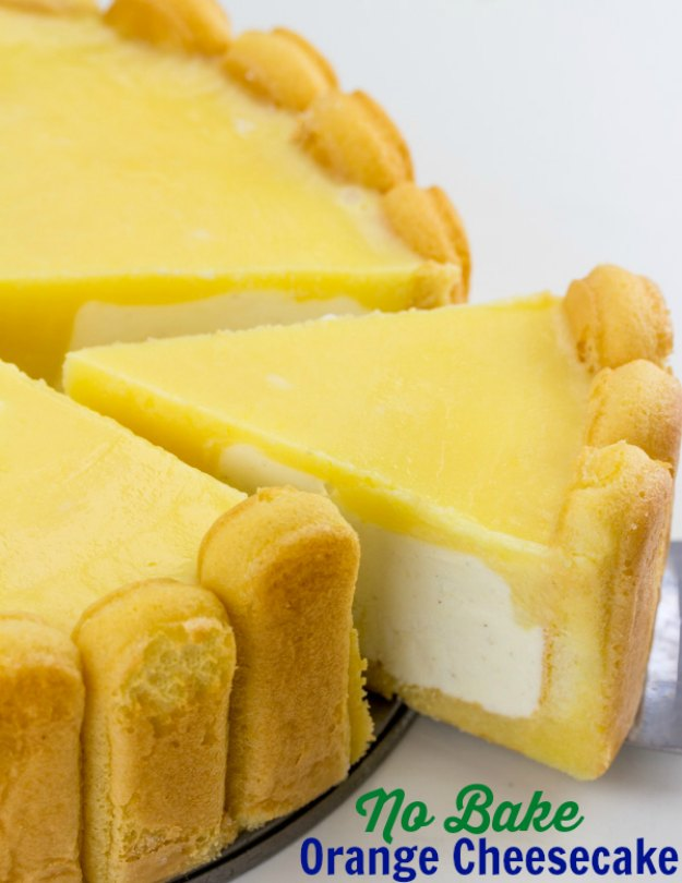 Just imagine it: lady fingers with a kick of orange juice, creamy vanilla cheesecake and a homemade orange pudding coming together in one delicious dessert. Imagine no more and run to the kitchen.  This no bake cheesecake has a few steps, but it's really easy to make.  The flavors are absolutely amazing together and the texture is perfect.  It's perfect for a celebration or a summer get together.