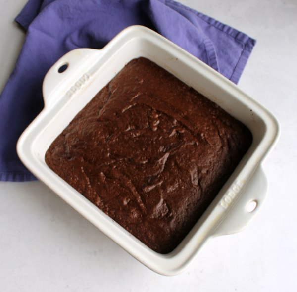 pan of chocolate brownies made with cocoa powder.