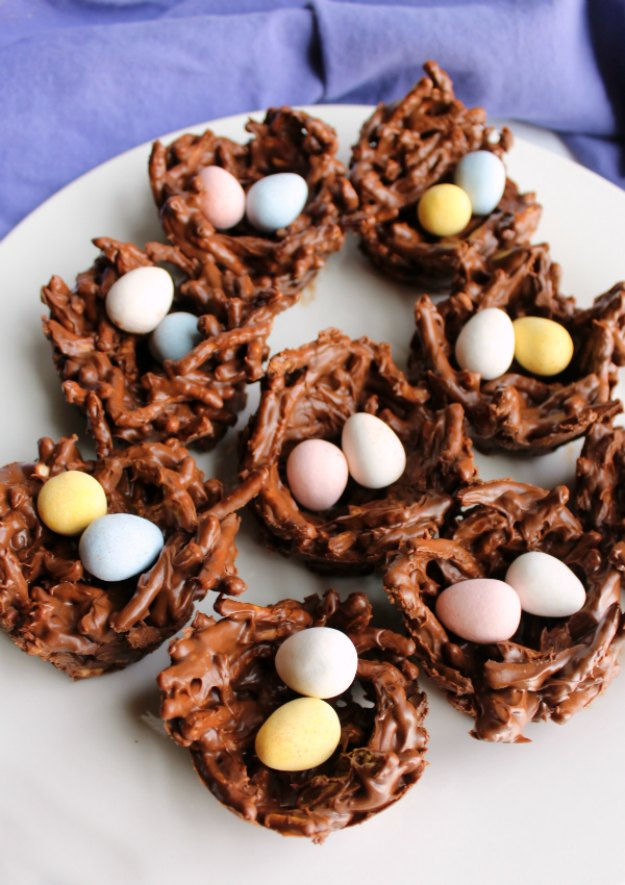 plateful of chocolate nests filled with candy eggs