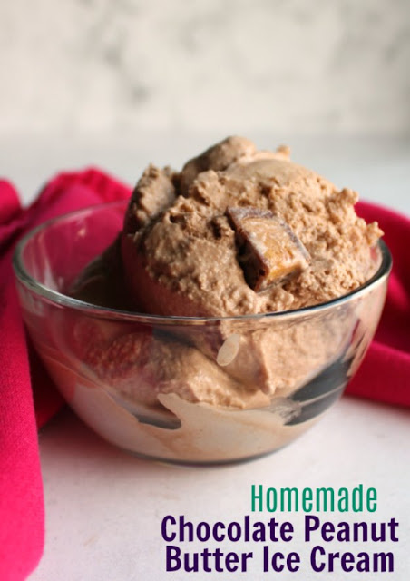 Creamy homemade chocolate ice cream with peanut butter and peanut butter cups mixed right in.  This is a chocolate and peanut butter lover's dream come true!