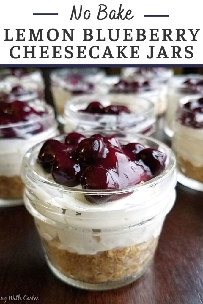 These little no bake lemon cheesecakes are served in an individual jar making them perfectly portable, giftable or hide-able if you want to keep them for yourself! The easy homemade blueberry topping is the perfect accompaniment to make them shine.