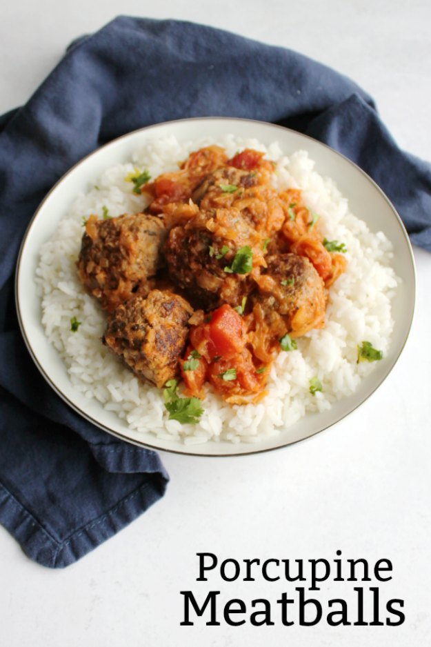 These tasty meatballs have rice cooked right inside. That's what gives them their porcupine name. They are delicious cooked in this simple homemade sauce. We love them for dinner, but you could easily make them in a slow cooker for a game day snack as well!