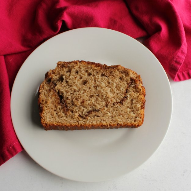 slice of cinnamon swirl bread on small plate ready to eat