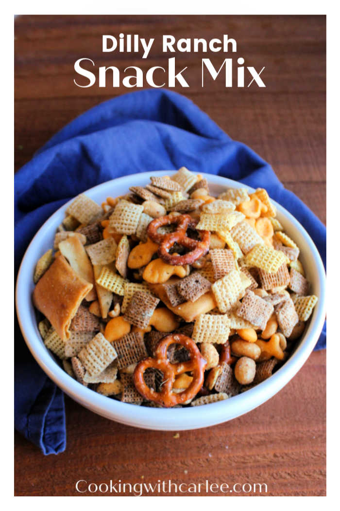 If savory snack mixes are your thing, you are in luck! This fun munchy mix is loaded with different shapes, textures and flavors. The dill and ranch coating makes it different than traditional chex mix in the best kind of way.  Serve it at a party, movie night or after school snack!