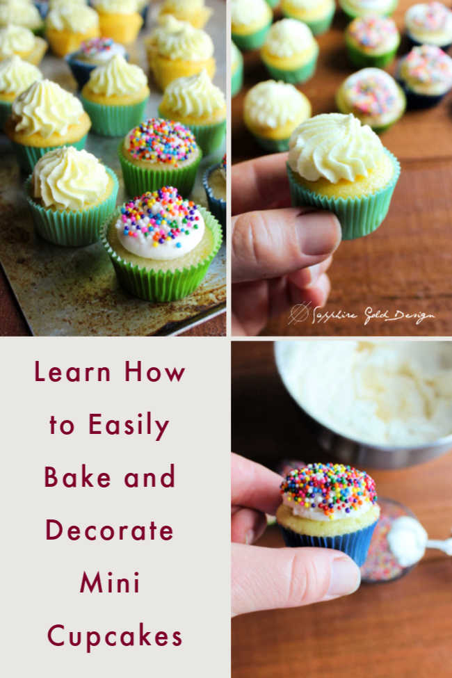 Little cupcakes are so much fun! They are a perfect way to get just a little something sweet or a great way to have one and still have room to try something else. Today I'll share how to make them quick and easy from a cake mix.  Plus I'll show you a couple super cute and fast ways to decorate them.