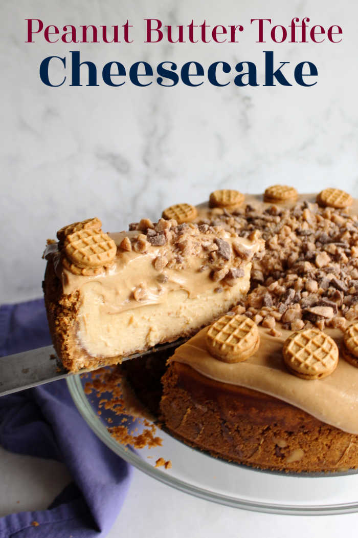 This peanut butter cheesecake is layer after layer of pure decadence and deliciousness. The toffee adds a rich buttery depth of flavor that makes it even better.