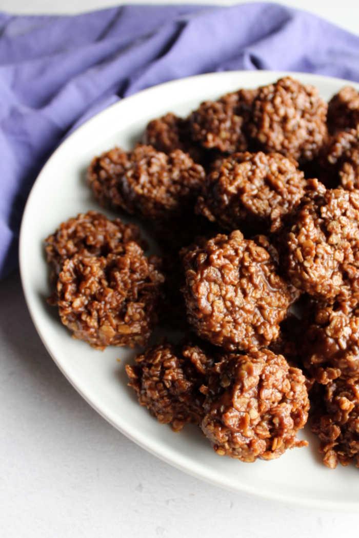 plate of no bake oatmeal cookies