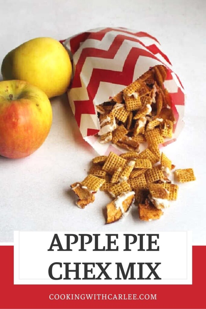 Grab a handful of this sweet apple pie inspired snack mix and dig in. This is a quick and recipe that is fun for so many occasions.