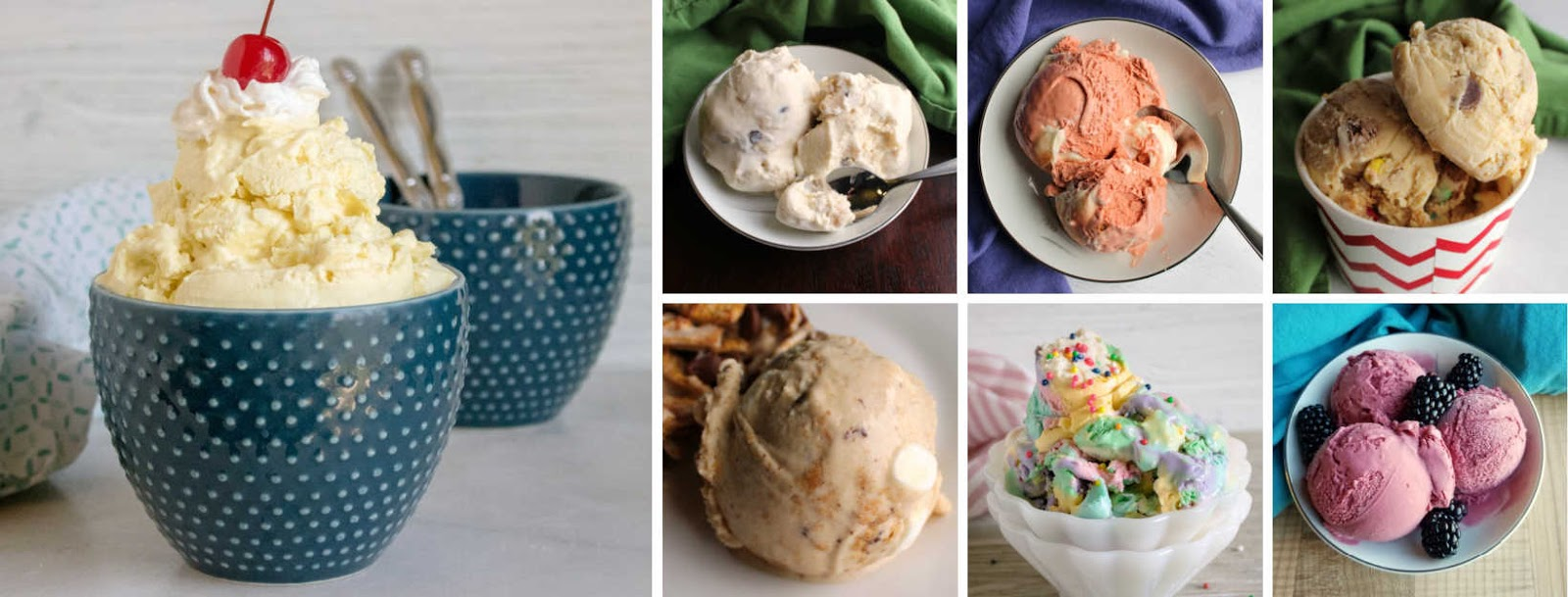 collage of homemade ice cream pictures