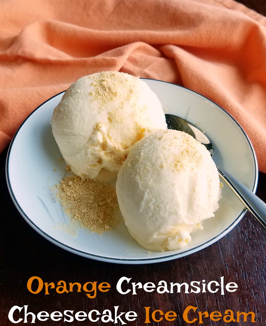 scoops of orange creamsicle cheesecake ice cream