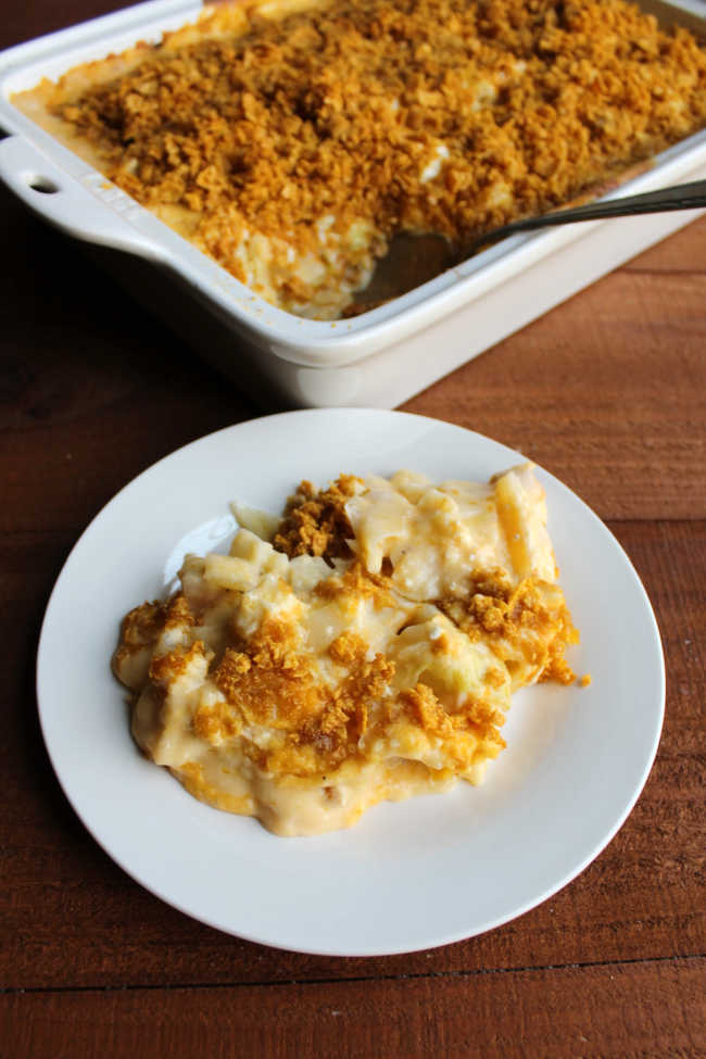 serving of cheesy cabbage casserole with buttery cornflake topping