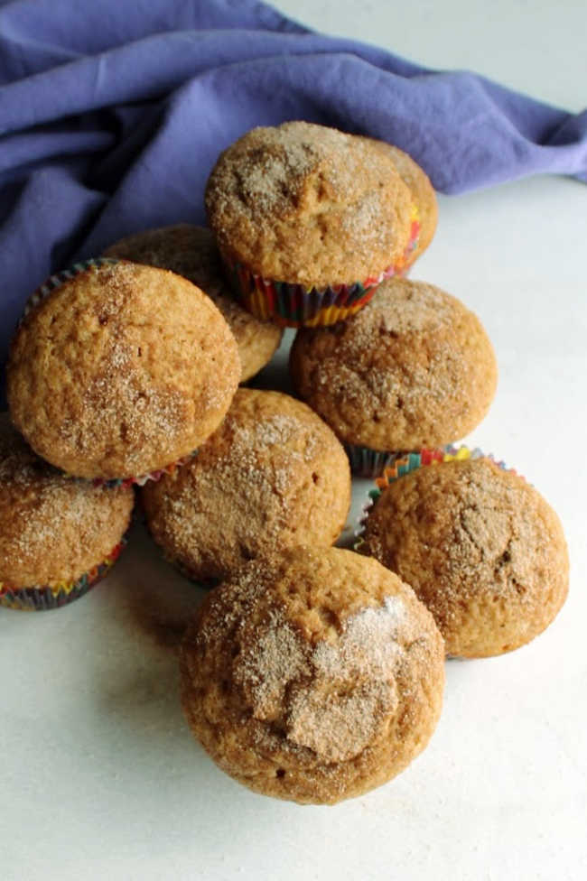 stack of muffins with their cinnamon sugar tops showing