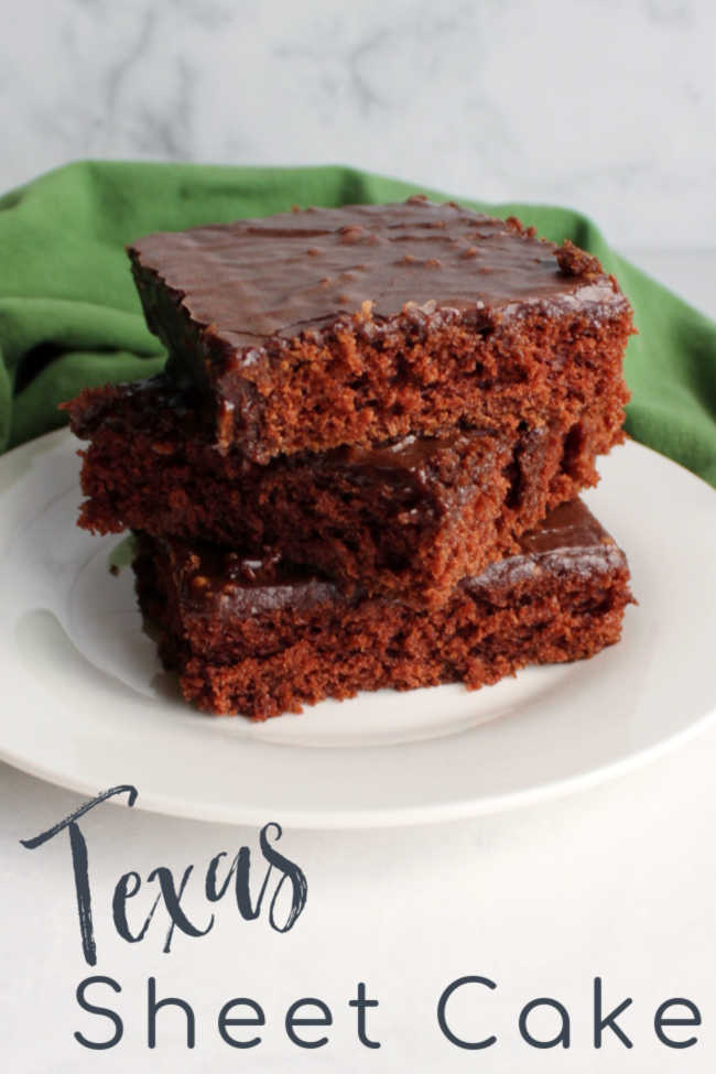 There are so many things to love about a Texas sheet cake.  In fact, my family loves them so much that we have a whole collection of recipes in quite a few different flavors.  However there is just something about the original chocolaty Texas sheet cake. It is the perfect combination of soft cake and rich fudgy fuss free icing. It brings back all the tasty nostalgia!