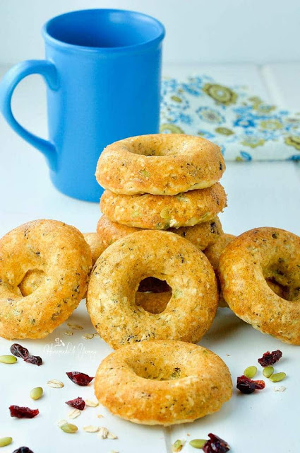 baked oatmeal in donut shapes