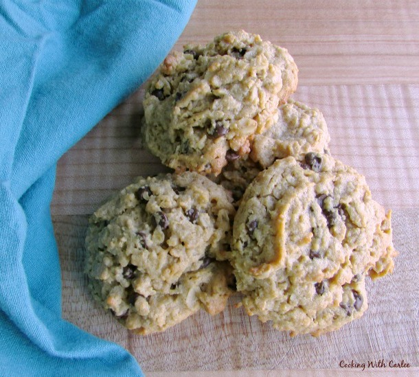 three large peanut butter chocolate chip oatmeal cookies