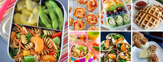 collage of lunch ideas for kids' lunchboxes