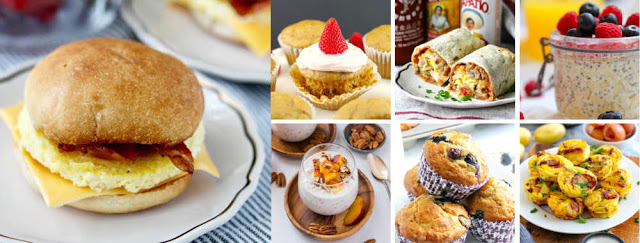 collage of busy morning breakfast ideas