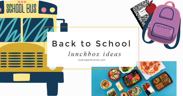 collage with school books, book bag, lunches and text saying back to school lunch ideas