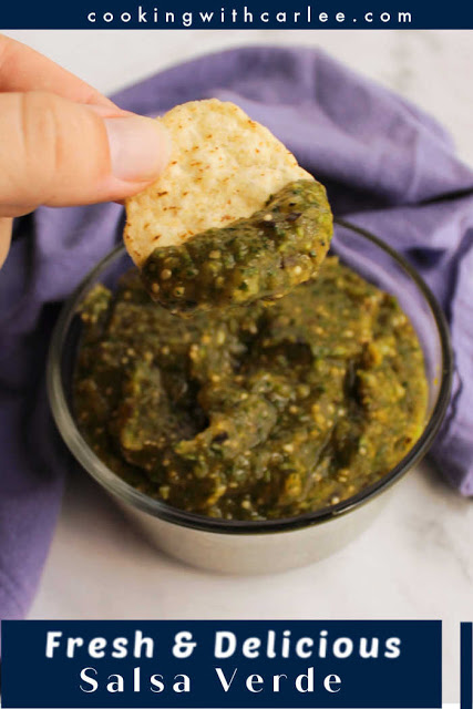 Turn fresh tomatillos into a vibrant salsa verde with very little effort. This bright tasting sauce is thick and delicious making it perfect for dipping chips or staying in tacos.