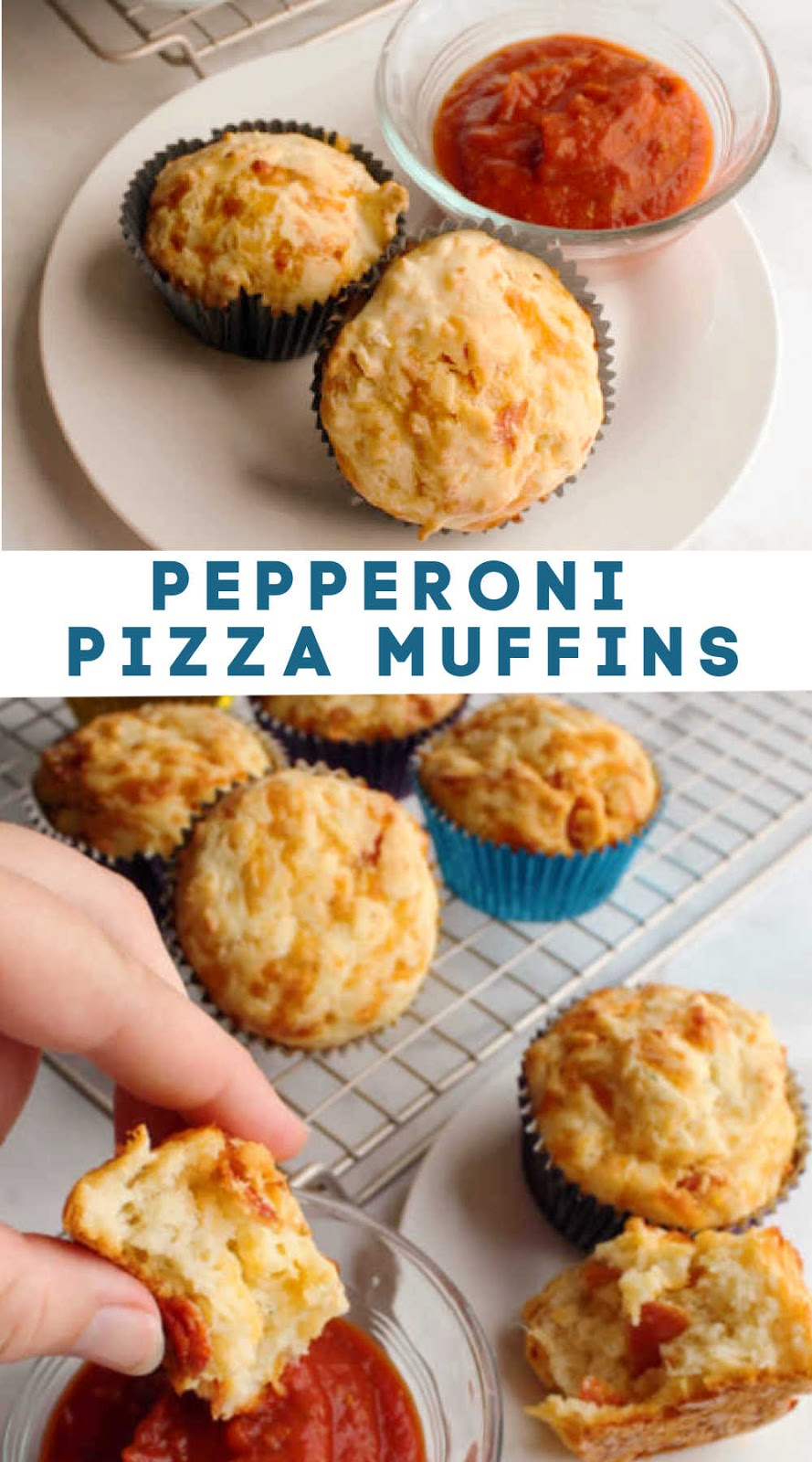 Enjoy pepperoni pizza in muffin form. They are cheesy and filling and super easy to make. While good on their own, they are even better dipped in a side of pizza sauce. Whether you make them for your kid's lunchbox, as an after school snack or for a study group, just be sure to make some.
