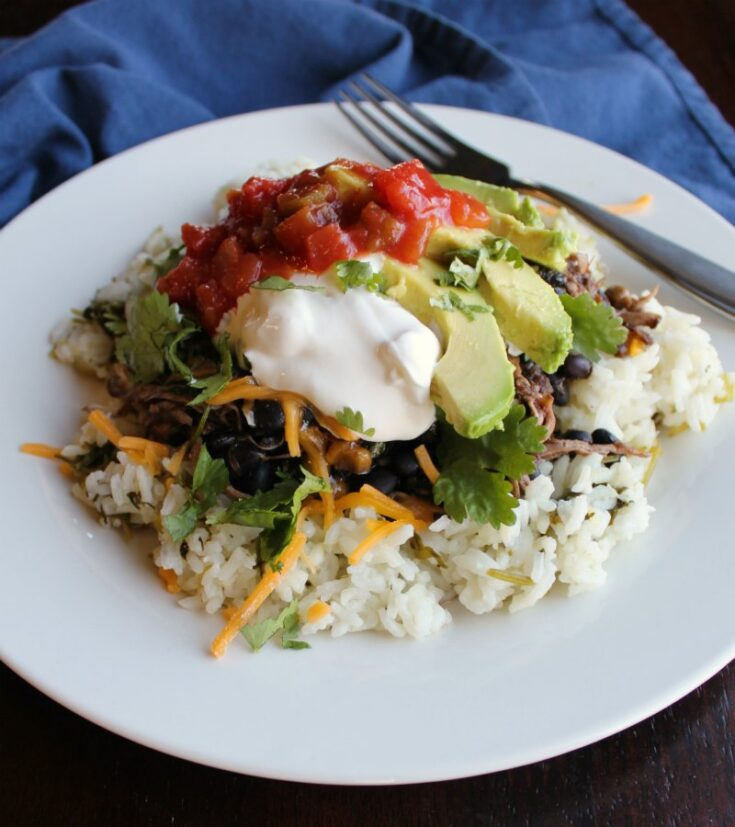 plate of lime cilantro rice piled high with salsa chicken, avocado slices, sour cream and more