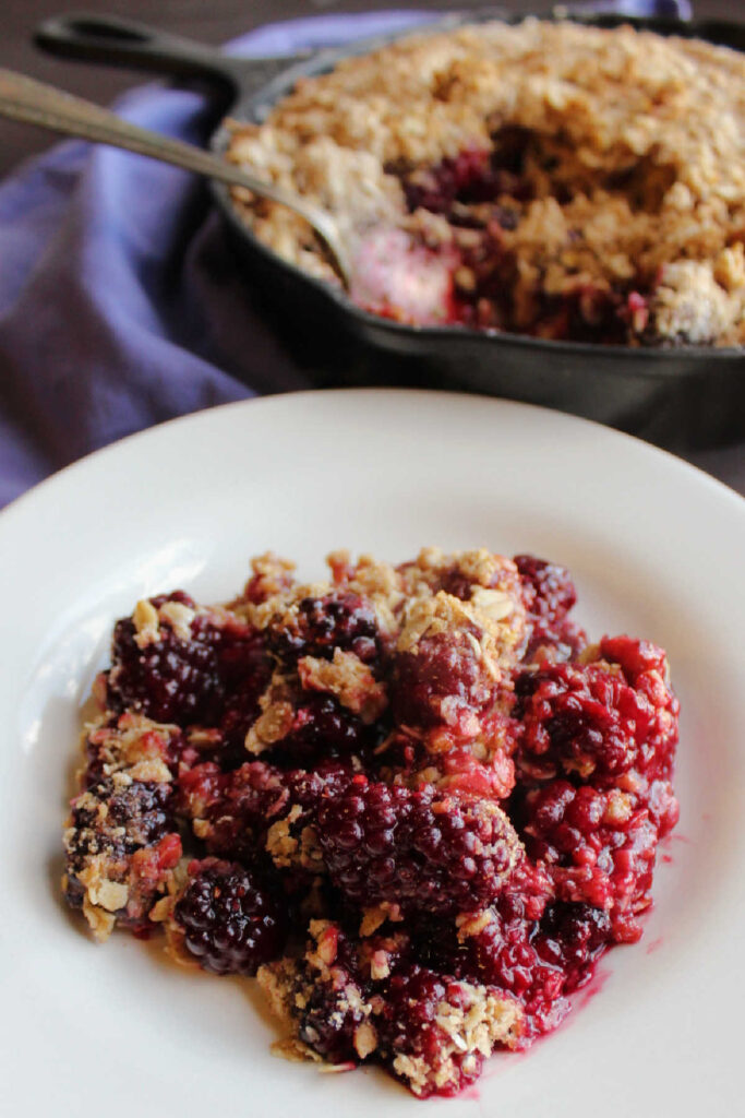 serving of blackberry crisp with oatmeal topping on plate.