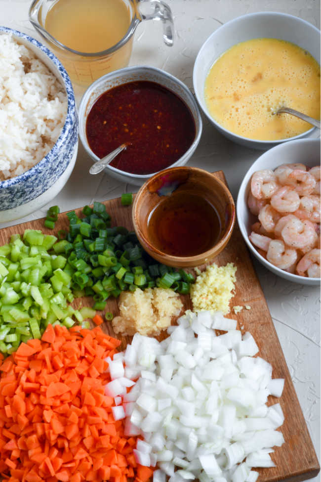 ingredients ready to make shrimp fried rice