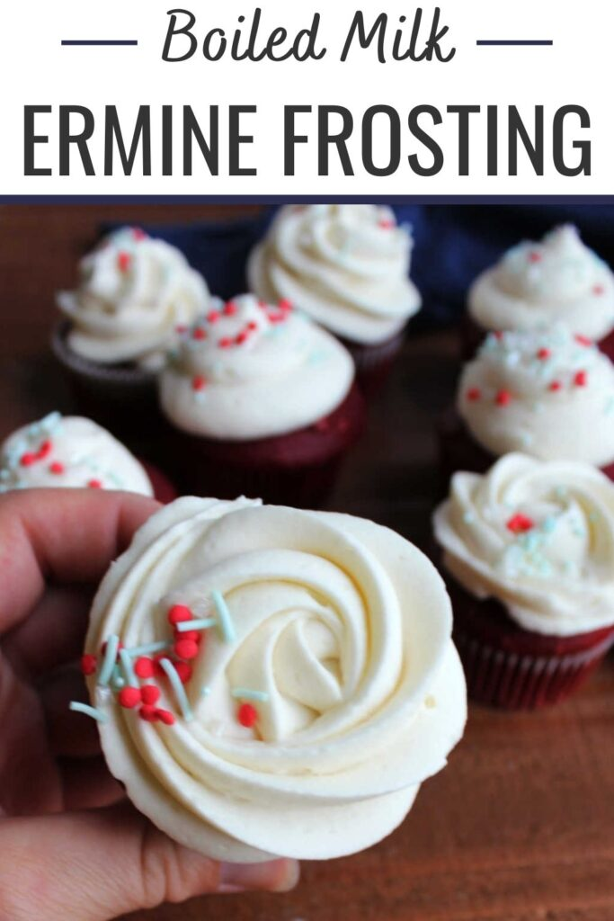This frosting is fluffy and smooth and perfect. It starts by boiling milk and flour together to make a paste and that is whipped into butter to make a frosting that isn't super sweet, but is really light and airy. It is a lot like whipped cream, but more stable. It is a classic topping for red velvet cake, but is great in a variety of applications!
