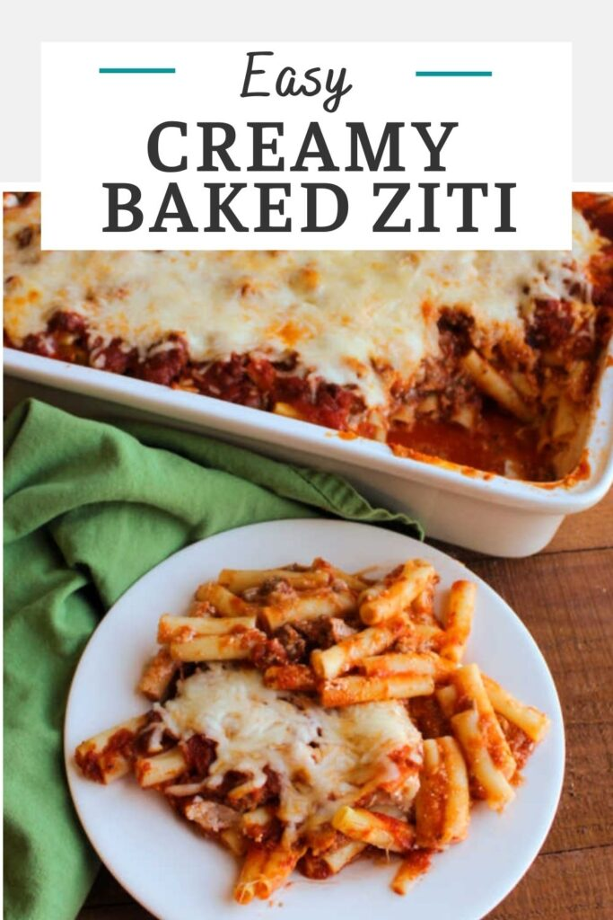 Baked ziti is a perfect family friendly fill them up kind of meal. It can be made ahead and baked to creamy, cheesy perfection.