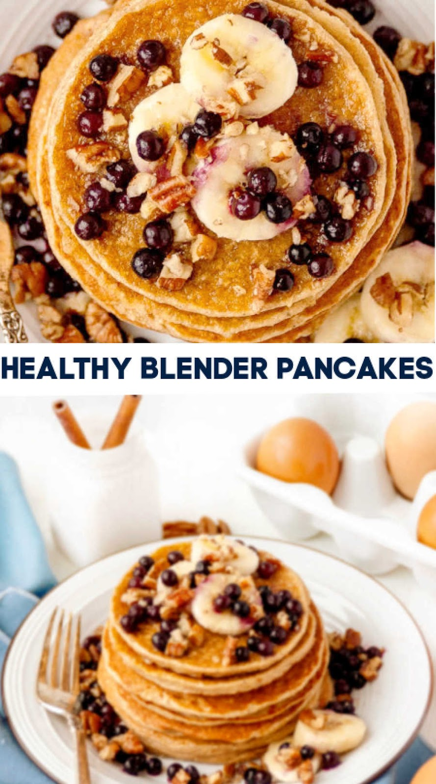 Make that breakfast staple, pancakes, healthier and super easy with these blender pancakes. There is no processed sugar,a hit of protein and lots of flavor to enjoy!