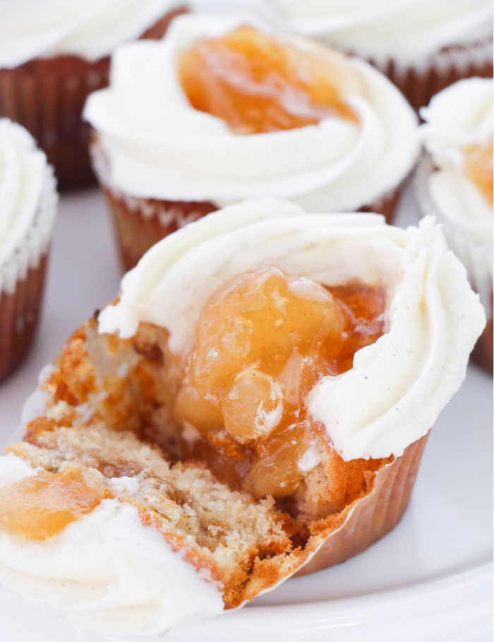 cupcake with apple pie filling and topping showing
