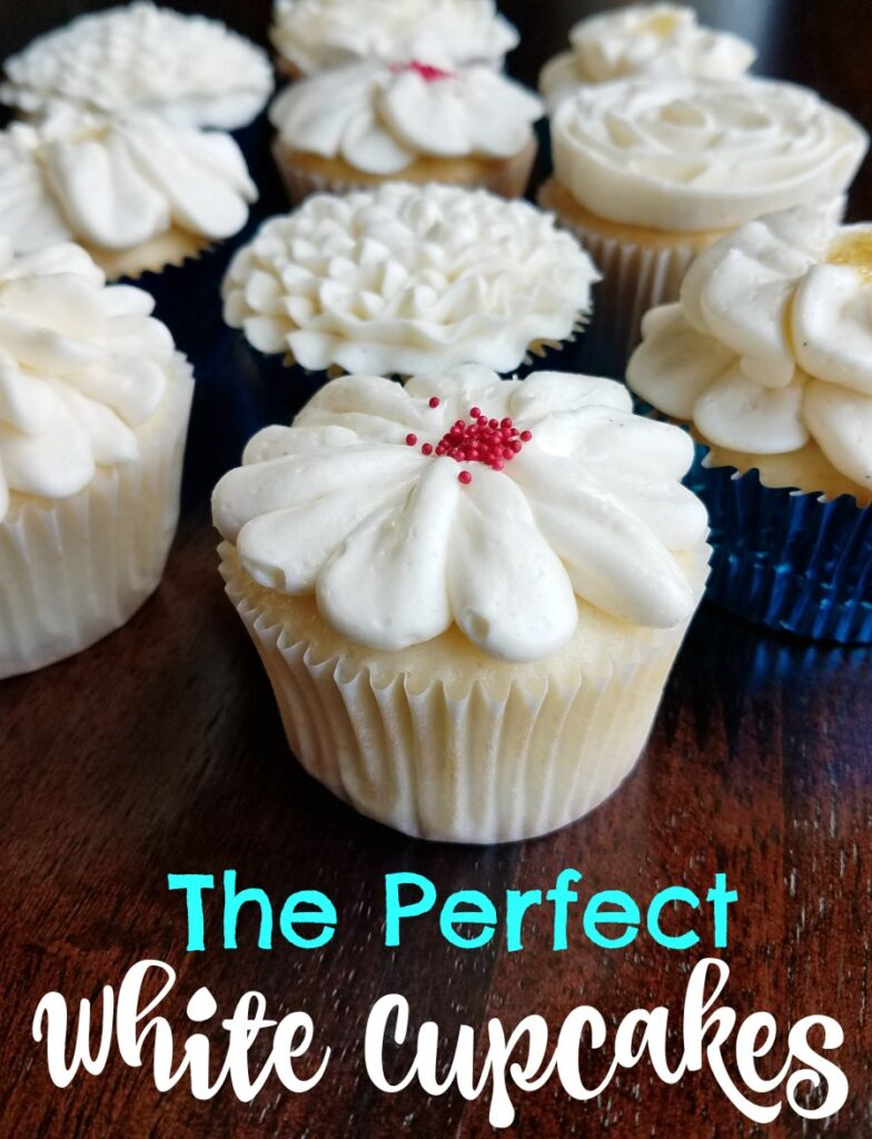 These cupcakes start with a box mix, but with a lot of twists turn into something magical. I dare say they are the best white cupcakes out there and that's really saying something coming from me!  They are soft and spongy and oh so tasty.  You will have to make a batch to see for yourself!