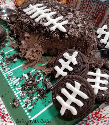 football decorated oreos with chocolate cheese ball