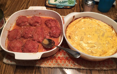 picture of bbq ham balls and scalloped potatoes