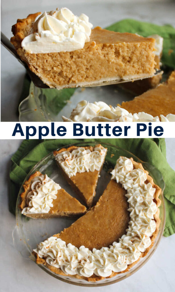 Creamy apple butter pie is silky and delicious. It has the texture of pumpkin pie, but with the flavor of apples and goodness of sweetened condensed milk instead!