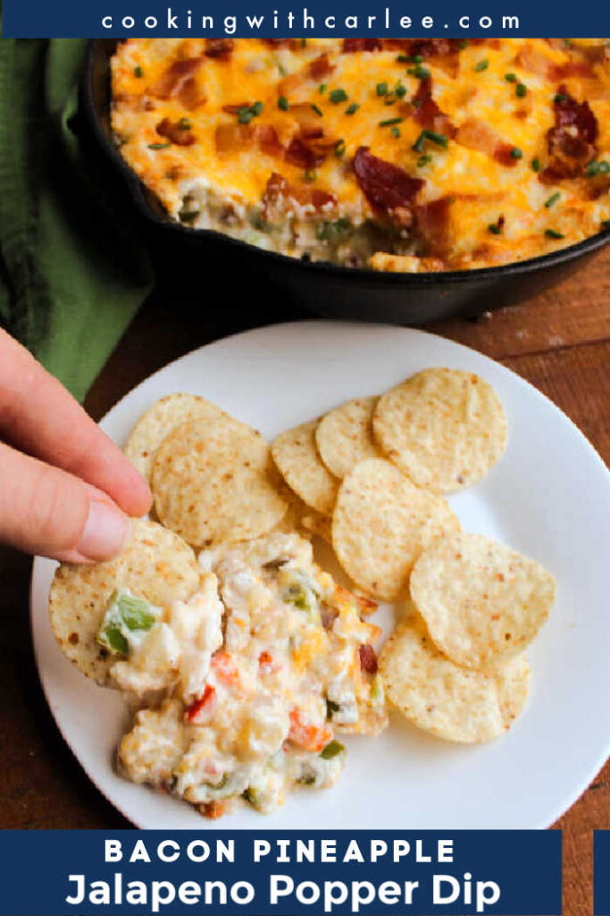 This warm and creamy dip has it all. It's sweet, savory, spicy and delicious. You get the flavor of bacon wrapped jalapeno poppers with a twist. The pineapple adds an extra layer of flavor and makes it oh so good! Dig in with tortilla or pita chips or spread it over crackers for a fabulous appetizer or game day snack.
