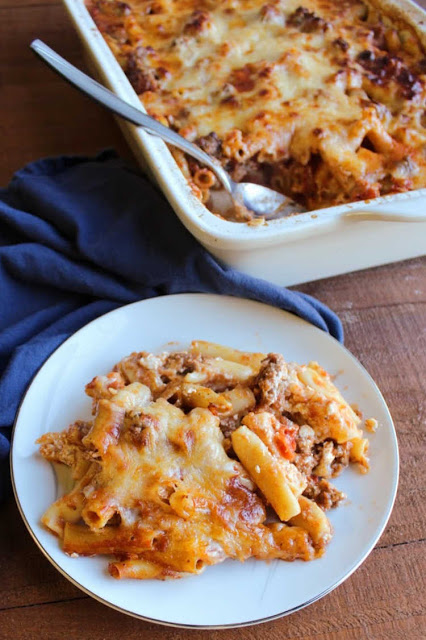 baked ziti served on small plate ready to eat