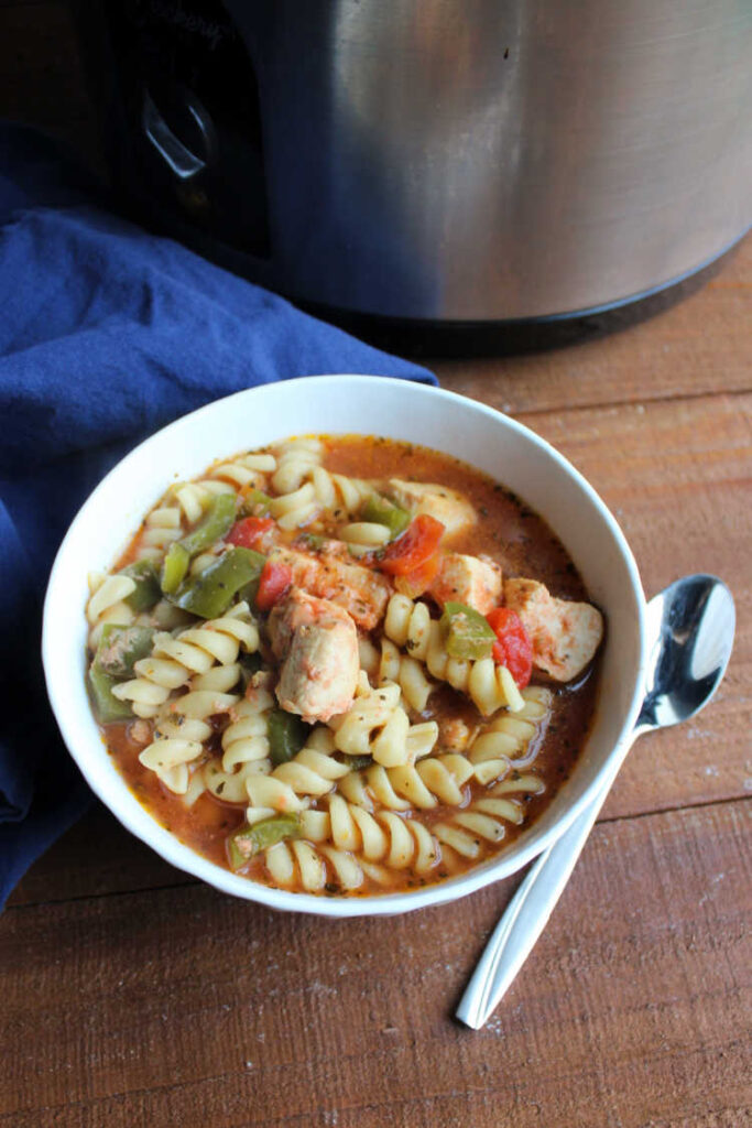 bowl of slow cooker chicken noodle soup.