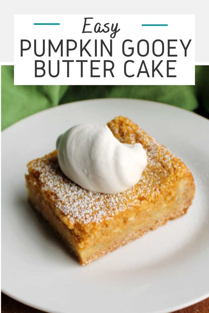 Pumpkin gooey butter cake is simple to make and tastes like fall. It is part cake bar, part pumpkin cheesecake and all delicious!