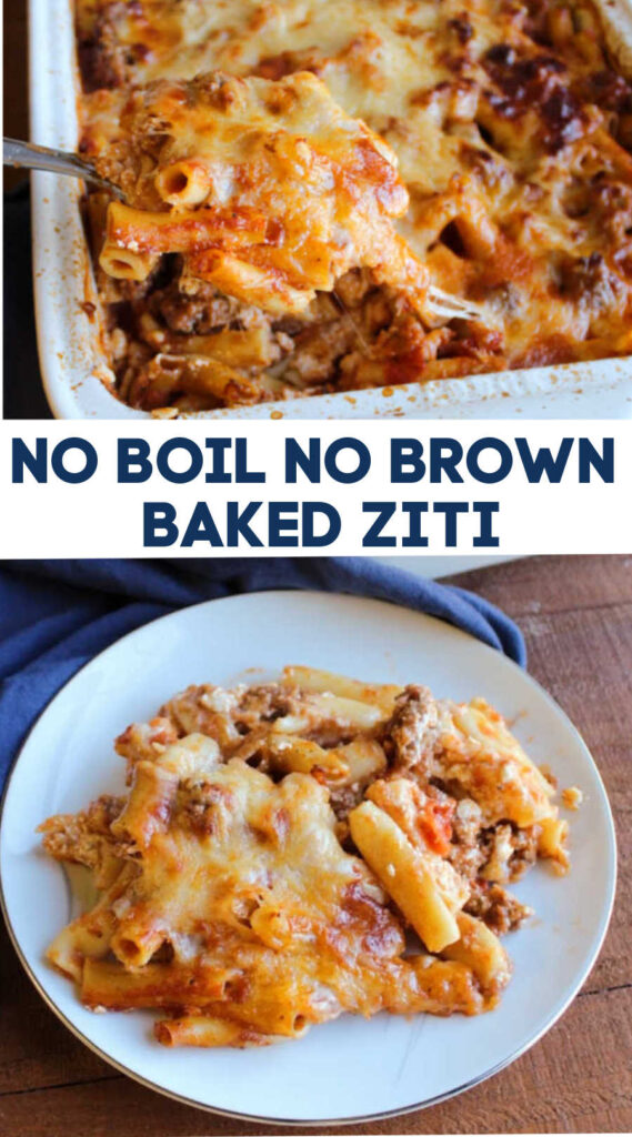 Enjoy all of the goodness of baked ziti with a fraction of the prep work! You don't have to boil the noodles or brown the meat, just layer it up and bake it to perfection.